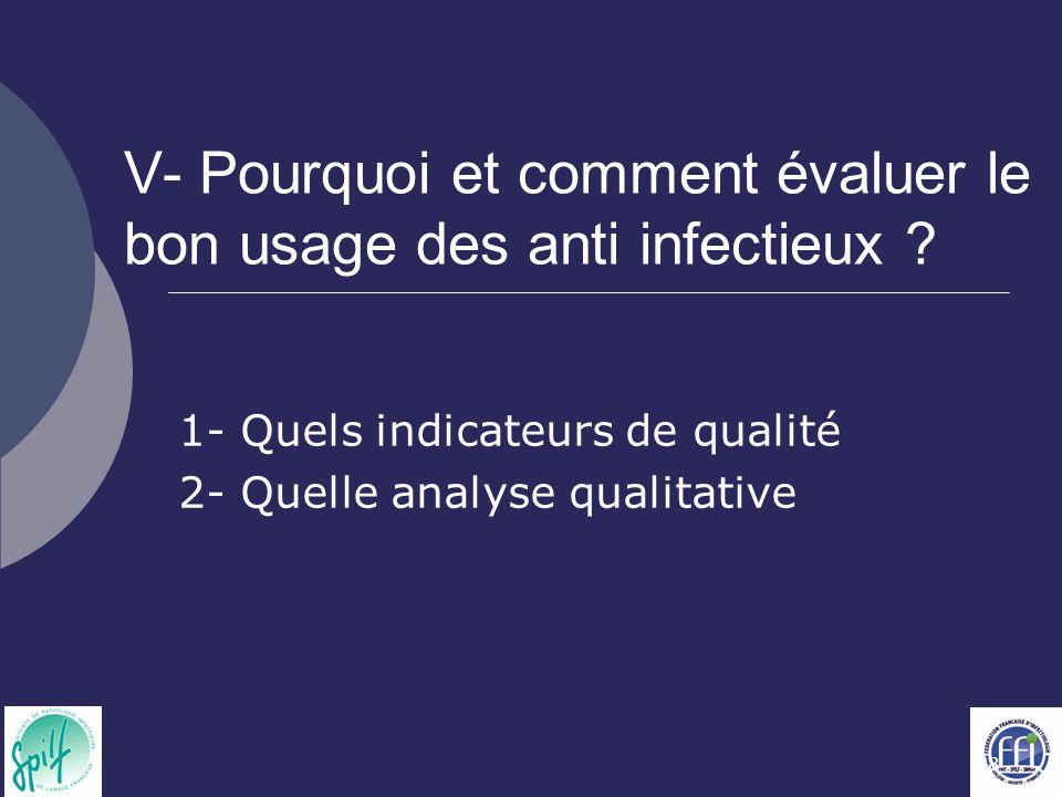 38 V- Pourquoi et comment évaluer le bon usage des anti infectieux ? 1- Quels indicateurs de qualité 2- Quelle analyse qualitative