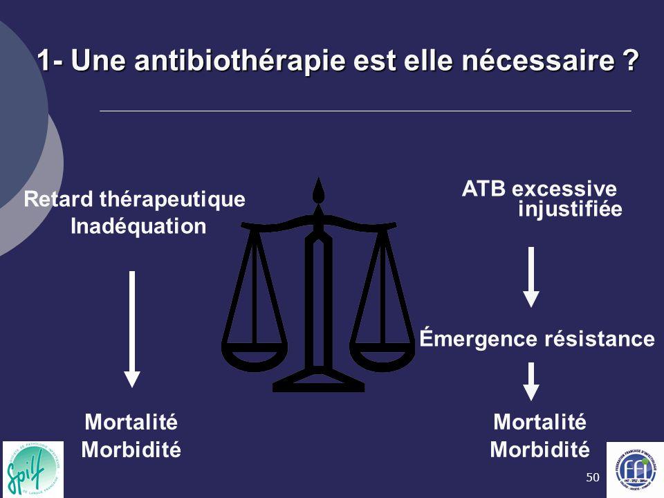 50 Retard thérapeutique Inadéquation Mortalité Morbidité ATB excessive injustifiée Émergence résistance Mortalité Morbidité 1- Une antibiothérapie est