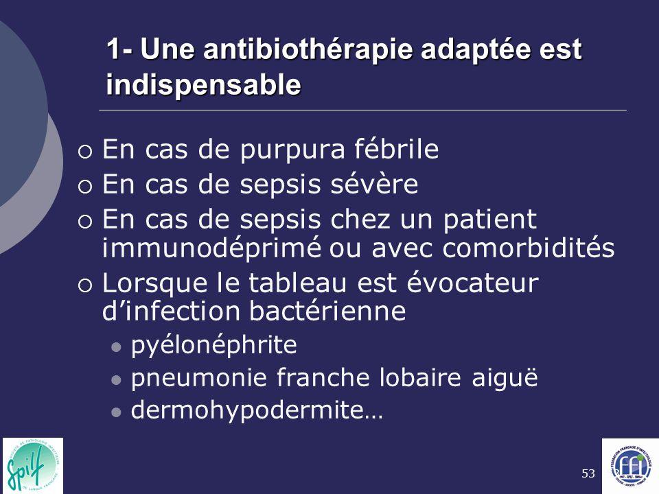 53 1- Une antibiothérapie adaptée est indispensable  En cas de purpura fébrile  En cas de sepsis sévère  En cas de sepsis chez un patient immunodép