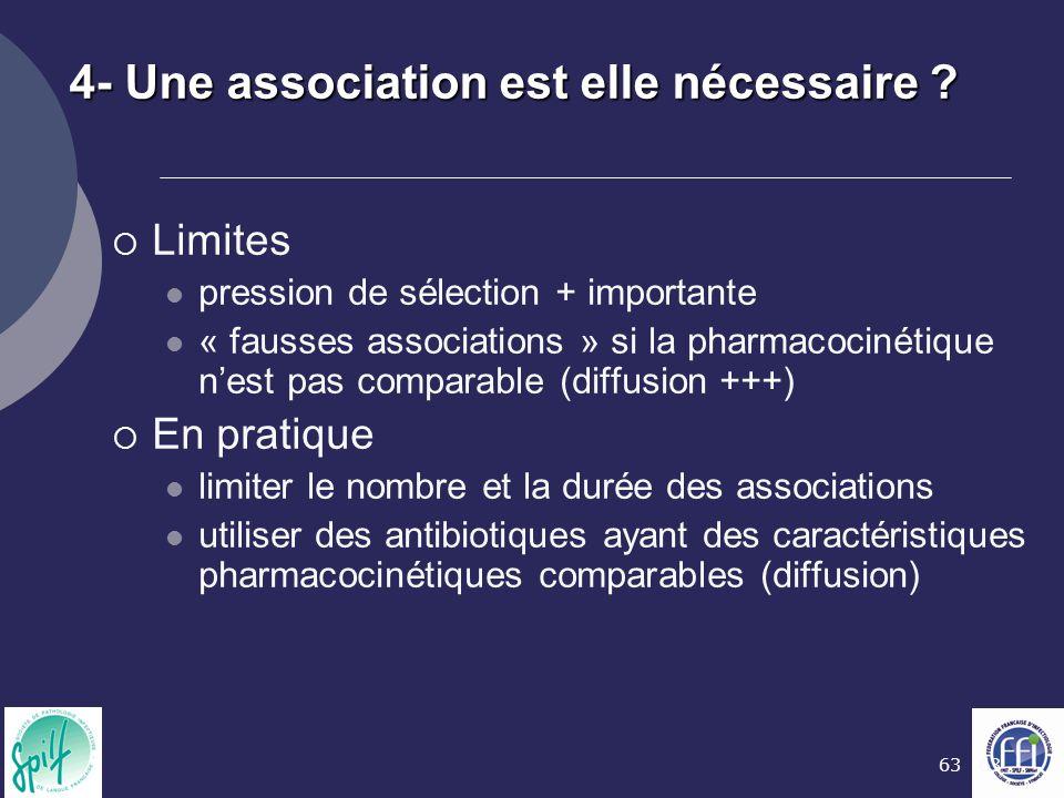 63 4- Une association est elle nécessaire ?  Limites pression de sélection + importante « fausses associations » si la pharmacocinétique n'est pas co
