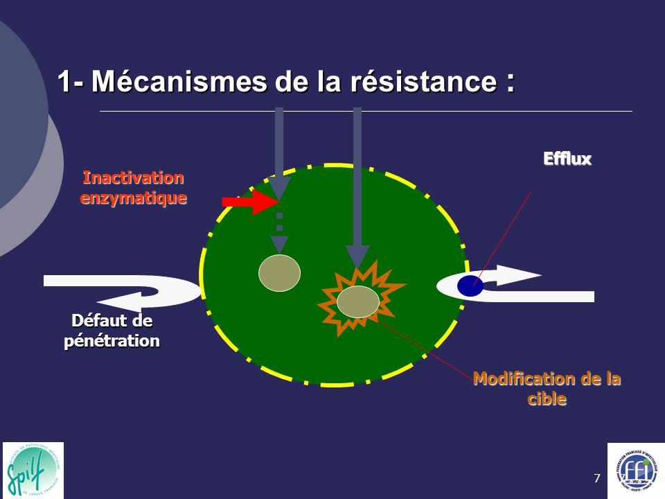 77 Inactivation enzymatique Défaut de pénétration Modification de la cible Efflux 1- Mécanismes de la résistance :