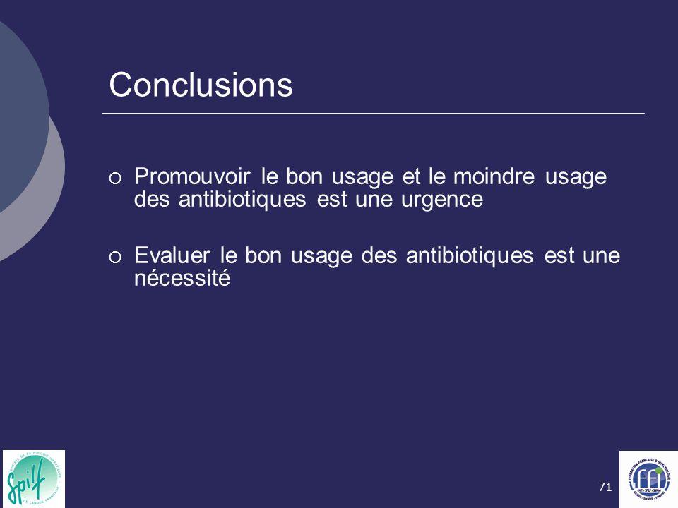 71 Conclusions  Promouvoir le bon usage et le moindre usage des antibiotiques est une urgence  Evaluer le bon usage des antibiotiques est une nécess