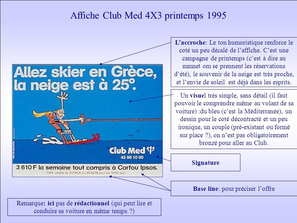 Affiche Club Med 4X3 printemps 1995 Signature Base line: pour préciser l'offre Un visuel très simple, sans détail (il faut pouvoir le comprendre même