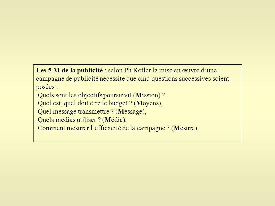 Les 5 M de la publicité : selon Ph Kotler la mise en œuvre d'une campagne de publicité nécessite que cinq questions successives soient posées : Quels