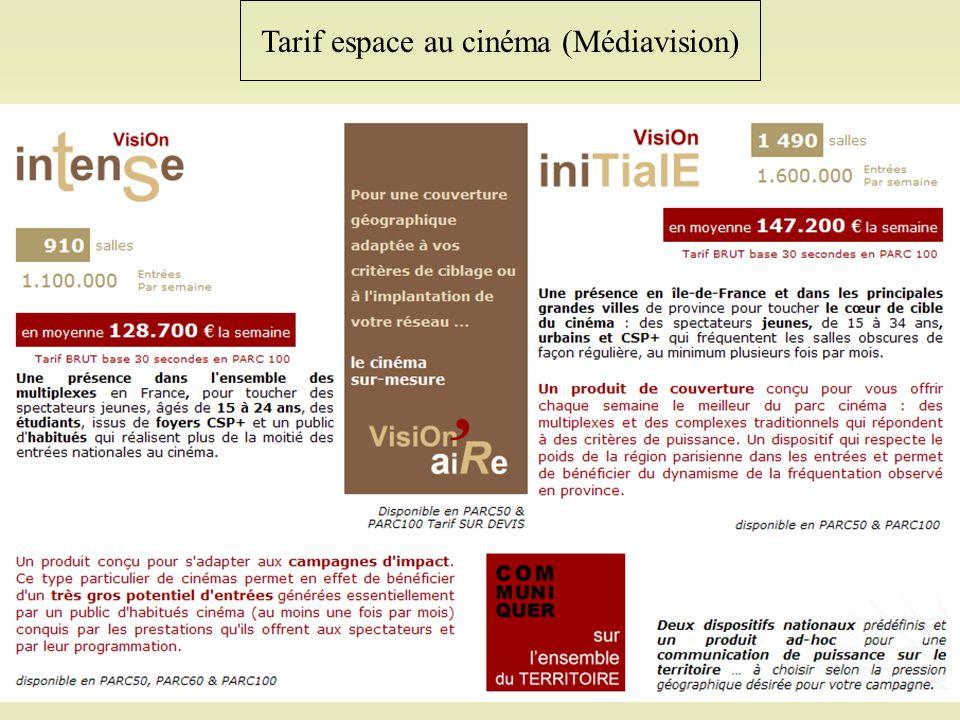 Tarif espace au cinéma (Médiavision)