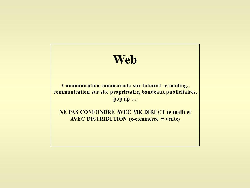 Web Communication commerciale sur Internet :e-mailing, communication sur site propriétaire, bandeaux publicitaires, pop up … NE PAS CONFONDRE AVEC MK