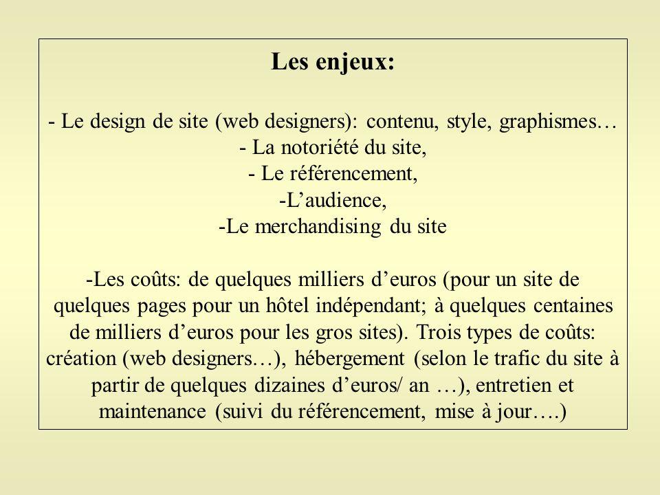 Les enjeux: - Le design de site (web designers): contenu, style, graphismes… - La notoriété du site, - Le référencement, -L'audience, -Le merchandisin