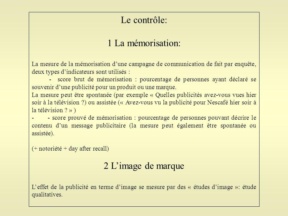 Le contrôle: 1 La mémorisation: La mesure de la mémorisation d'une campagne de communication de fait par enquête, deux types d'indicateurs sont utilis