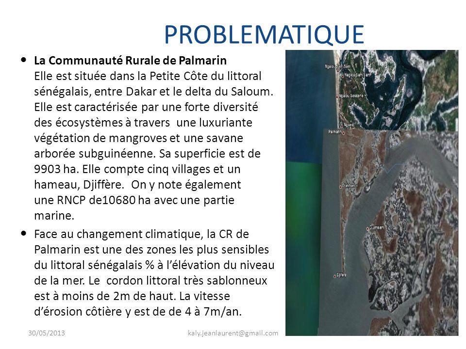 PROBLEMATIQUE La Communauté Rurale de Palmarin Elle est située dans la Petite Côte du littoral sénégalais, entre Dakar et le delta du Saloum.