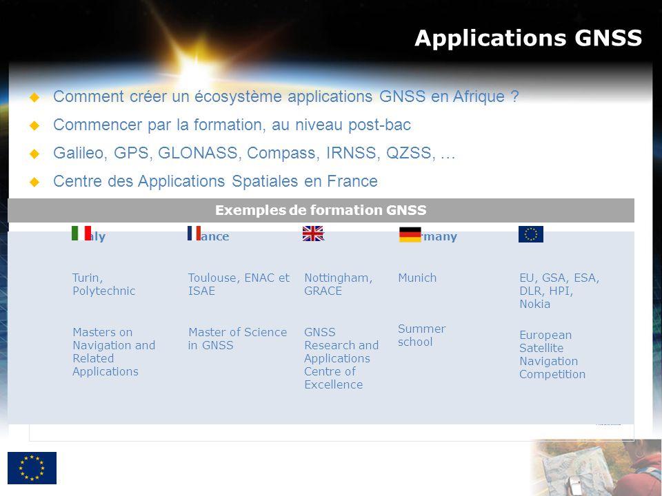 Applications GNSS  Comment créer un écosystème applications GNSS en Afrique ?  Commencer par la formation, au niveau post-bac  Galileo, GPS, GLONAS