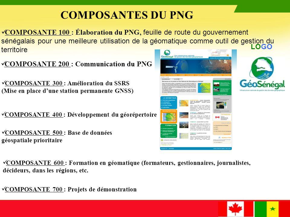 COMPOSANTE 100: Élaboration du PNG Le Plan national de géomatique sera la feuille de route du gouvernement sénégalais pour une meilleure utilisation de la géomatique comme outil de gestion du territoire et par concéquent de développement du pays.