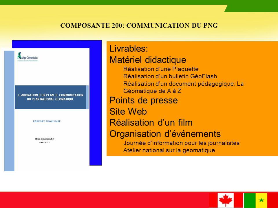 COMPOSANTE 200: COMMUNICATION DU PNG -Site Web www.geosenegal.gouv.snwww.geosenegal.gouv.sn - Plaquette - Document pédagogique « la géomatique de A à Z » - Bulletin Géoflash