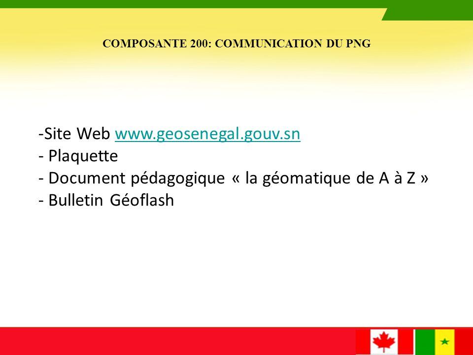 Site WEB de GéoSénégal : www.geosenegal.gouv.sn LOGO Bulletin d'information : Géoflash