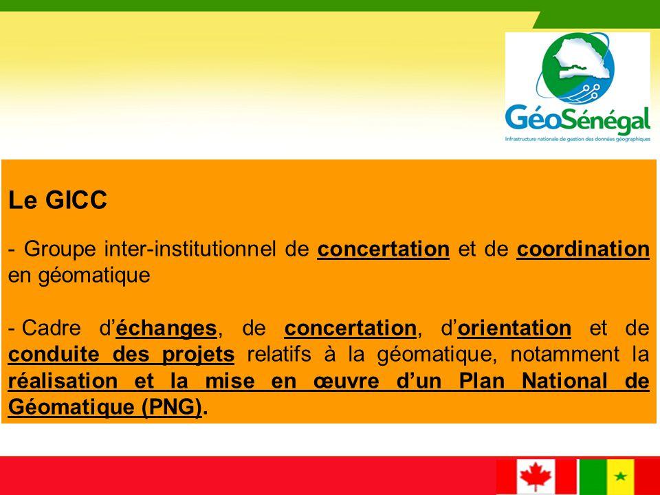 Missions du GICC - Le GICC est chargé de statuer sur : les questions relatives à la géomatique au Sénégal les projets de textes législatifs et règlementaires en matière de géomatique les normes et standards applicables aux domaines de la géomatique