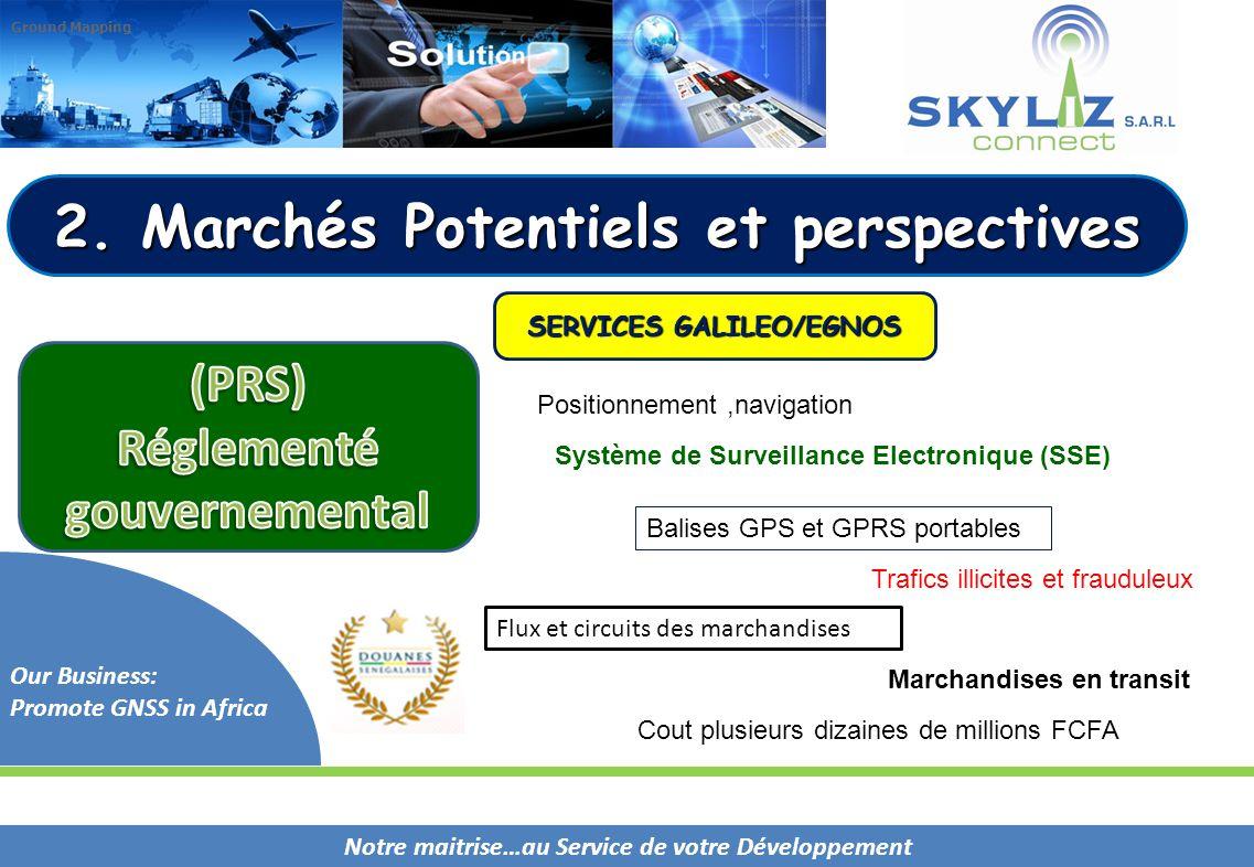 Notre maitrise…au Service de votre Développement Our Business: Promote GNSS in Africa Ground Mapping 2. Marchés Potentiels et perspectives SERVICES GA