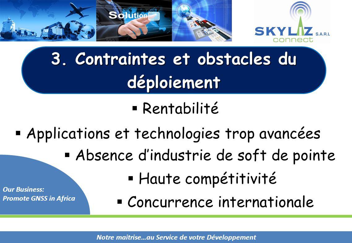Notre maitrise…au Service de votre Développement Our Business: Promote GNSS in Africa 3. Contraintes et obstacles du déploiement  Applications et tec