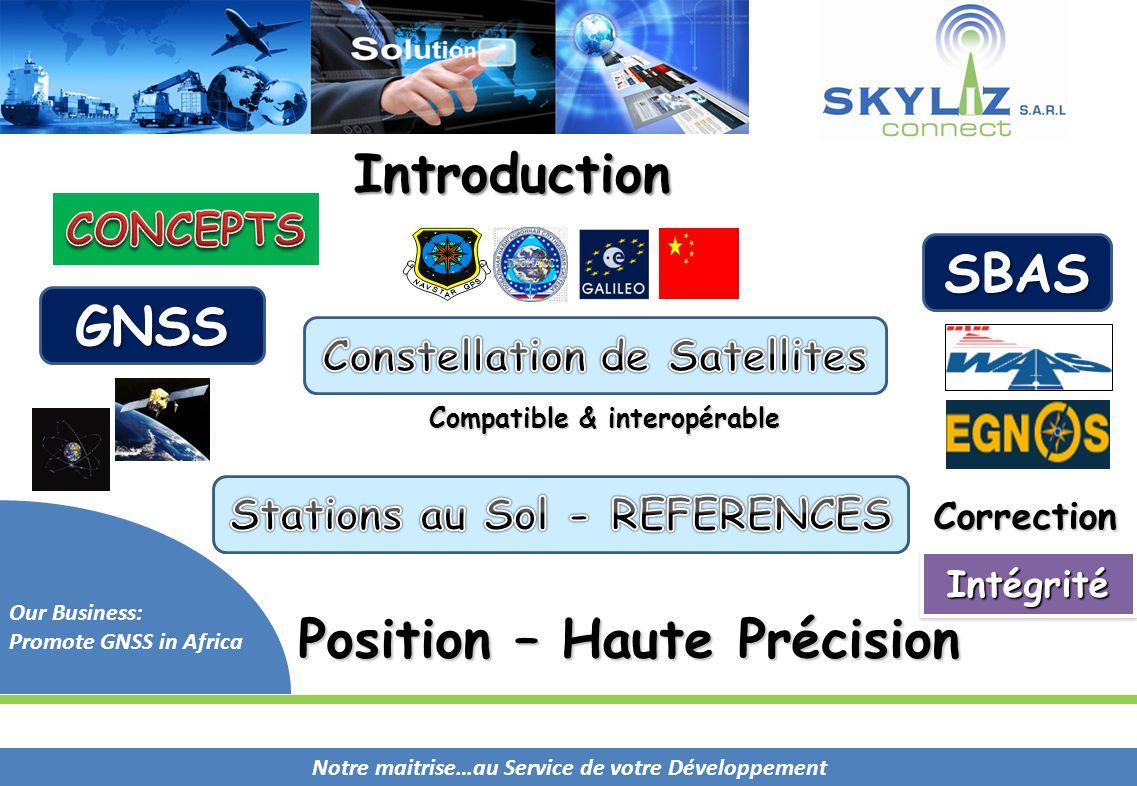 Notre maitrise…au Service de votre Développement Our Business: Promote GNSS in Africa Position – Haute Précision Compatible & interopérable IntégritéI