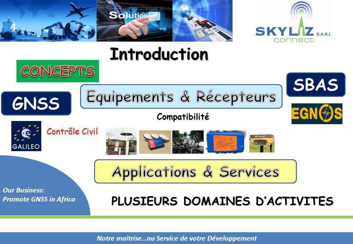 Notre maitrise…au Service de votre Développement Our Business: Promote GNSS in Africa PLUSIEURS DOMAINES D'ACTIVITES Compatibilité Contrôle Civil Intr