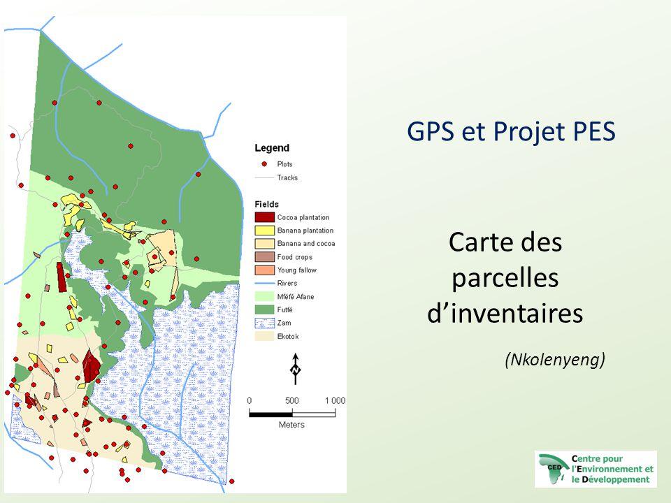 Carte des parcelles d'inventaires (Nkolenyeng)