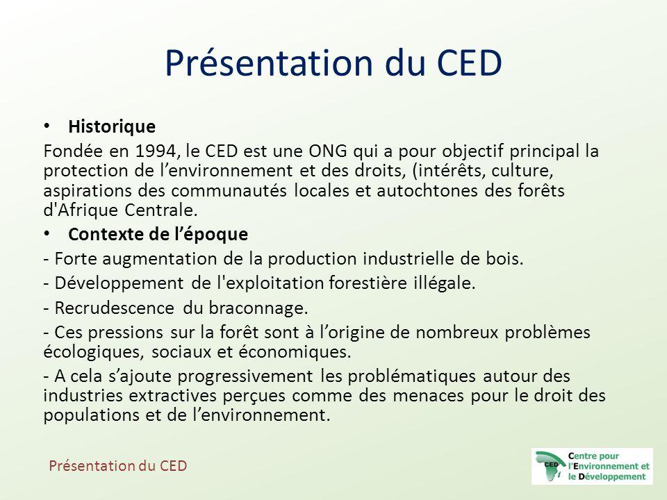 Présentation du CED Historique Fondée en 1994, le CED est une ONG qui a pour objectif principal la protection de l'environnement et des droits, (intér