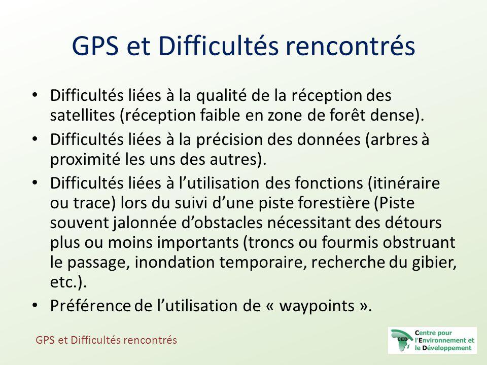 GPS et Difficultés rencontrés Difficultés liées à la qualité de la réception des satellites (réception faible en zone de forêt dense). Difficultés lié