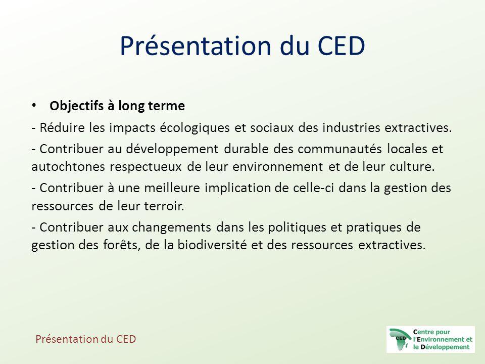 Objectifs à long terme - Réduire les impacts écologiques et sociaux des industries extractives. - Contribuer au développement durable des communautés