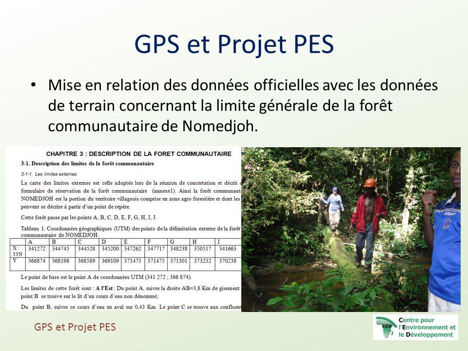 Mise en relation des données officielles avec les données de terrain concernant la limite générale de la forêt communautaire de Nomedjoh. GPS et Proje