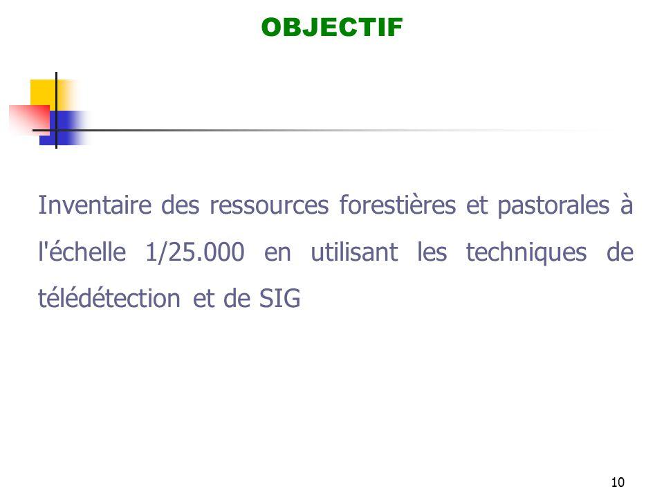 10 OBJECTIF Inventaire des ressources forestières et pastorales à l'échelle 1/25.000 en utilisant les techniques de télédétection et de SIG