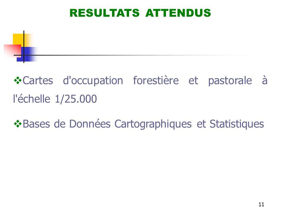 11 RESULTATS ATTENDUS  Cartes d'occupation forestière et pastorale à l'échelle 1/25.000  Bases de Données Cartographiques et Statistiques