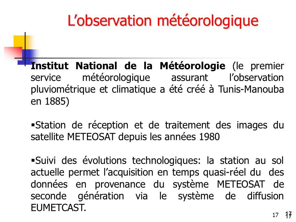 17 L'observation météorologique Institut National de la Météorologie (le premier service météorologique assurant l'observation pluviométrique et clima