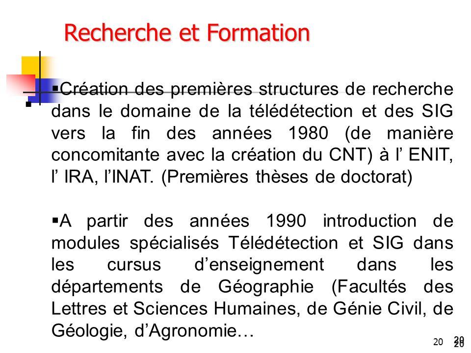 20  Recherche et Formation  Création des premières structures de recherche dans le domaine de la télédétection et des SIG vers la fin des années 198
