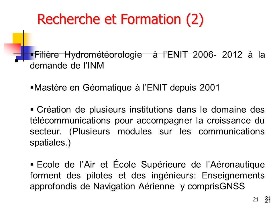 21  Recherche et Formation (2)  Filière Hydrométéorologie à l'ENIT 2006- 2012 à la demande de l'INM  Mastère en Géomatique à l'ENIT depuis 2001  C
