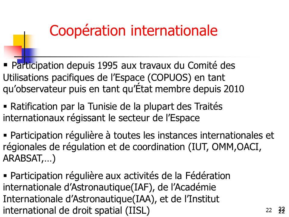 22  Participation depuis 1995 aux travaux du Comité des Utilisations pacifiques de l'Espace (COPUOS) en tant qu'observateur puis en tant qu'État memb
