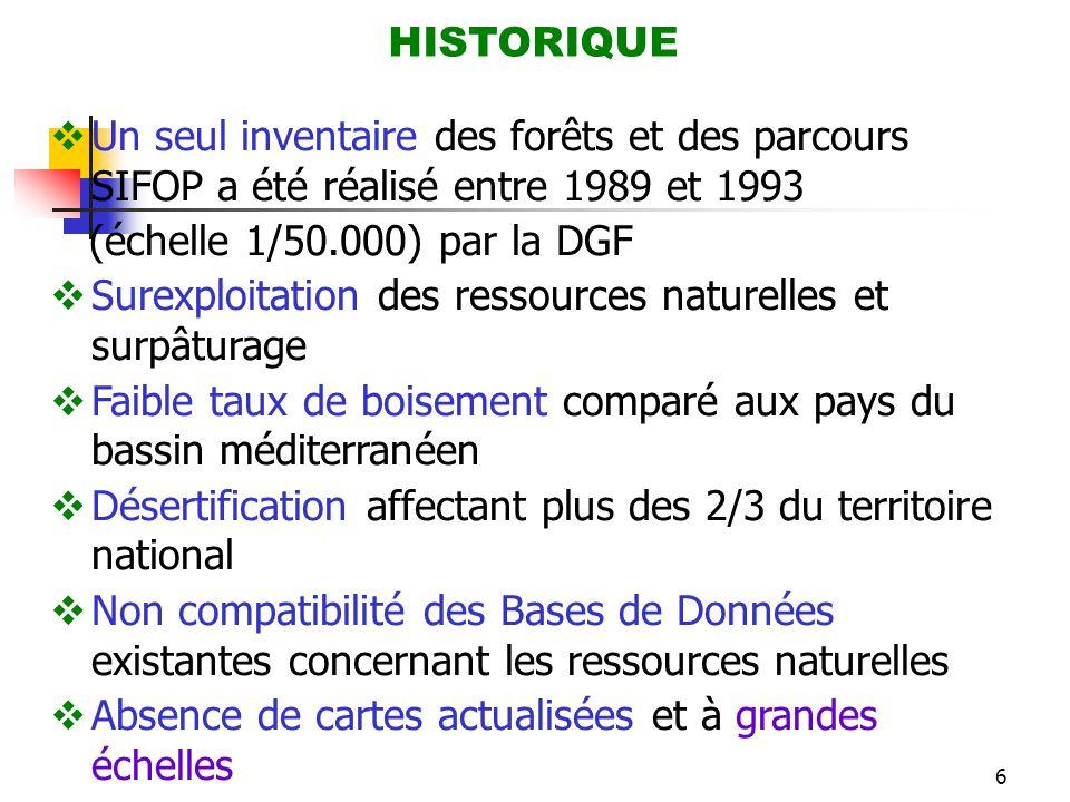 6 HISTORIQUE  Un seul inventaire des forêts et des parcours SIFOP a été réalisé entre 1989 et 1993 (échelle 1/50.000) par la DGF  Surexploitation de