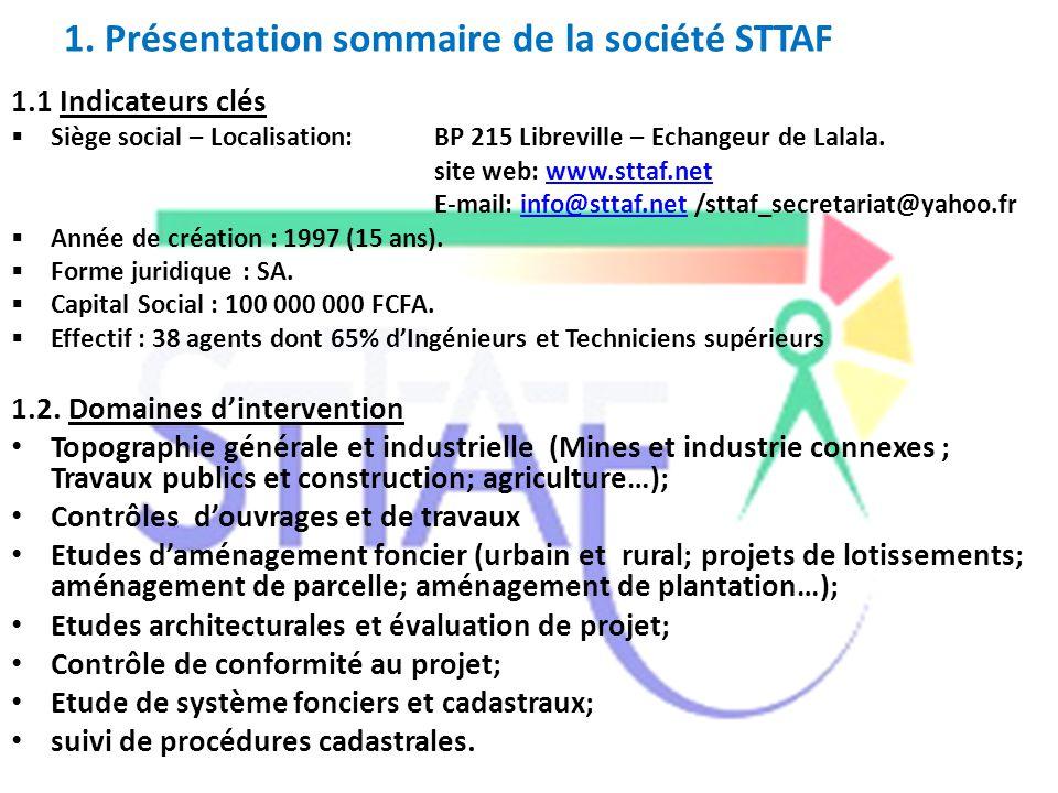 1. Présentation sommaire de la société STTAF 1.1 Indicateurs clés  Siège social – Localisation:BP 215 Libreville – Echangeur de Lalala. site web: www