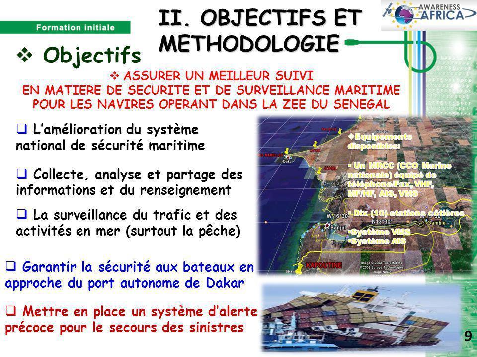 II. OBJECTIFS ET METHODOLOGIE  L'amélioration du système national de sécurité maritime  Collecte, analyse et partage des informations et du renseign