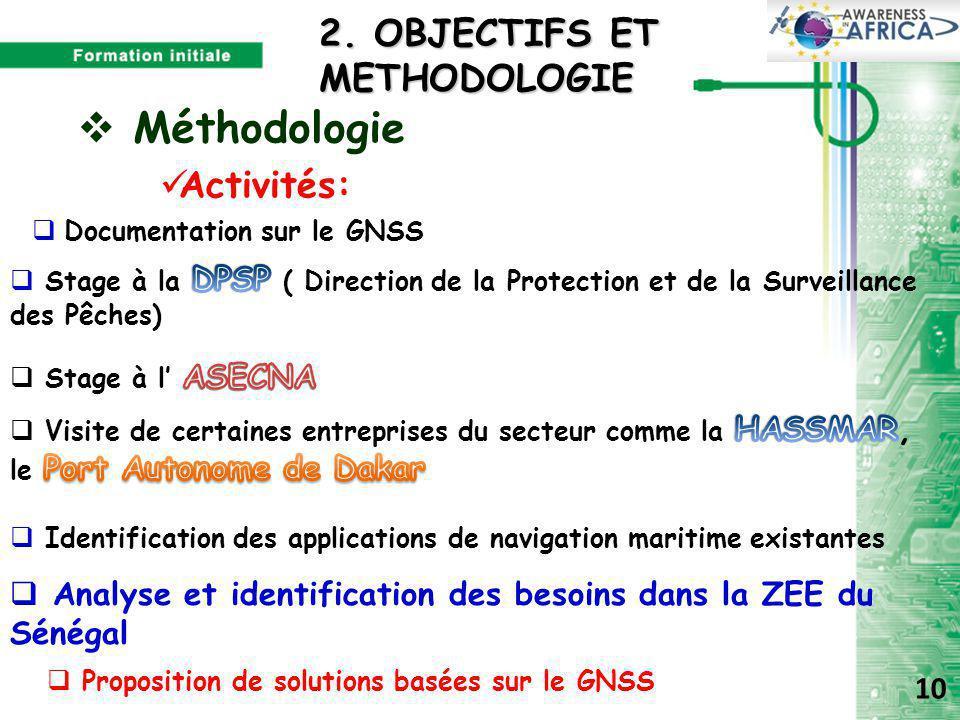  Méthodologie Activités:  Identification des applications de navigation maritime existantes  Analyse et identification des besoins dans la ZEE du Sénégal  Documentation sur le GNSS 2.