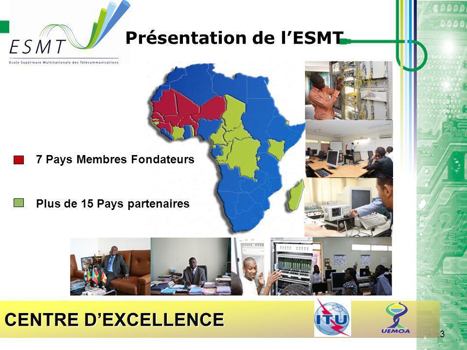 CENTRE D'EXCELLENCE 7 Pays Membres Fondateurs Plus de 15 Pays partenaires Présentation de l'ESMT 3