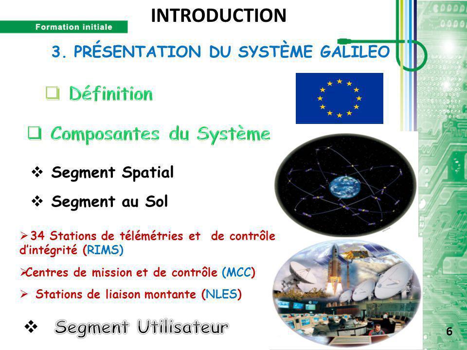 3. PRÉSENTATION DU SYSTÈME GALILEO  Segment Spatial  Segment au Sol  34 Stations de télémétries et de contrôle d'intégrité (RIMS)  Centres de miss