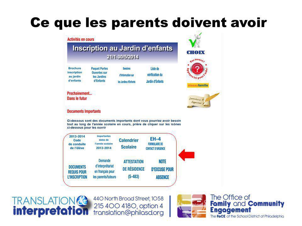 Ce que les parents doivent avoir