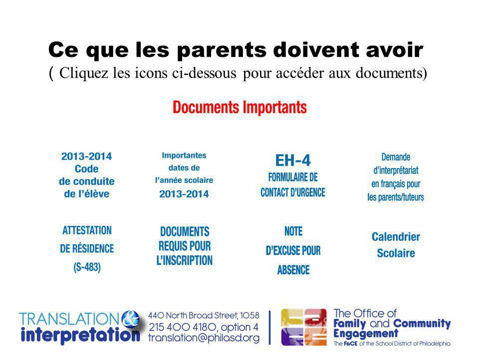Ce que les parents doivent avoir ( Cliquez les icons ci-dessous pour accéder aux documents)
