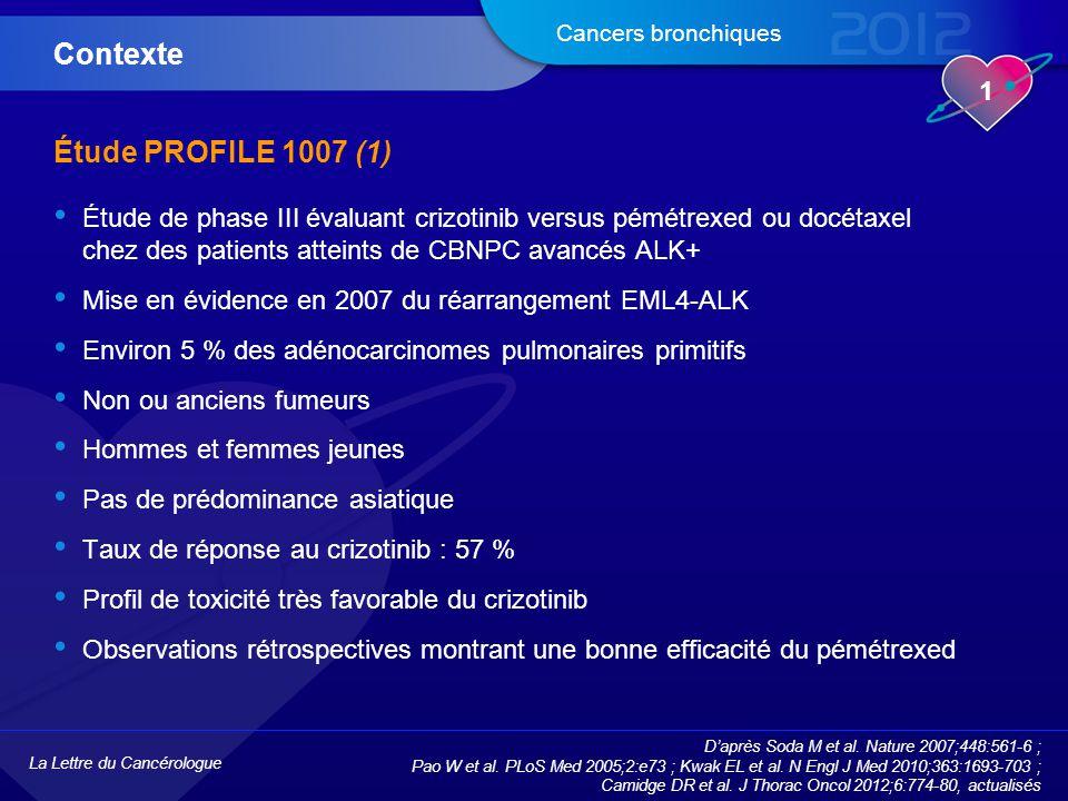 La Lettre du Cancérologue 1 Cancers bronchiques Étude PROFILE 1007 (1) Étude de phase III évaluant crizotinib versus pémétrexed ou docétaxel chez des