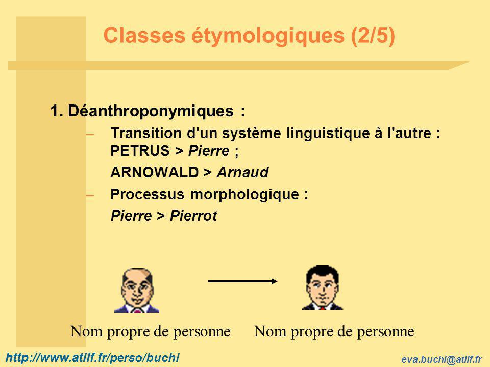 http://www.atilf.fr eva.buchi@atilf.fr http://www.atilf.fr/perso/buchi Classes étymologiques (2/5) 1.