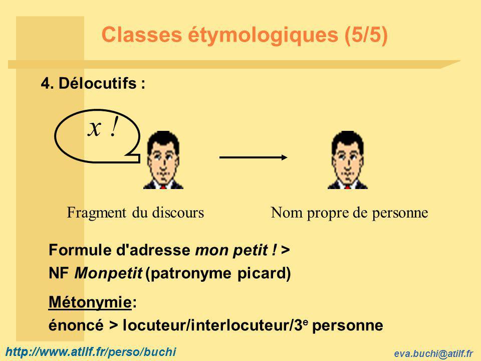 http://www.atilf.fr eva.buchi@atilf.fr http://www.atilf.fr/perso/buchi Classes étymologiques (5/5) 4.