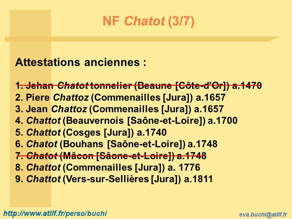 http://www.atilf.fr eva.buchi@atilf.fr http://www.atilf.fr/perso/buchi NF Chatot (3/7) Attestations anciennes : 1.