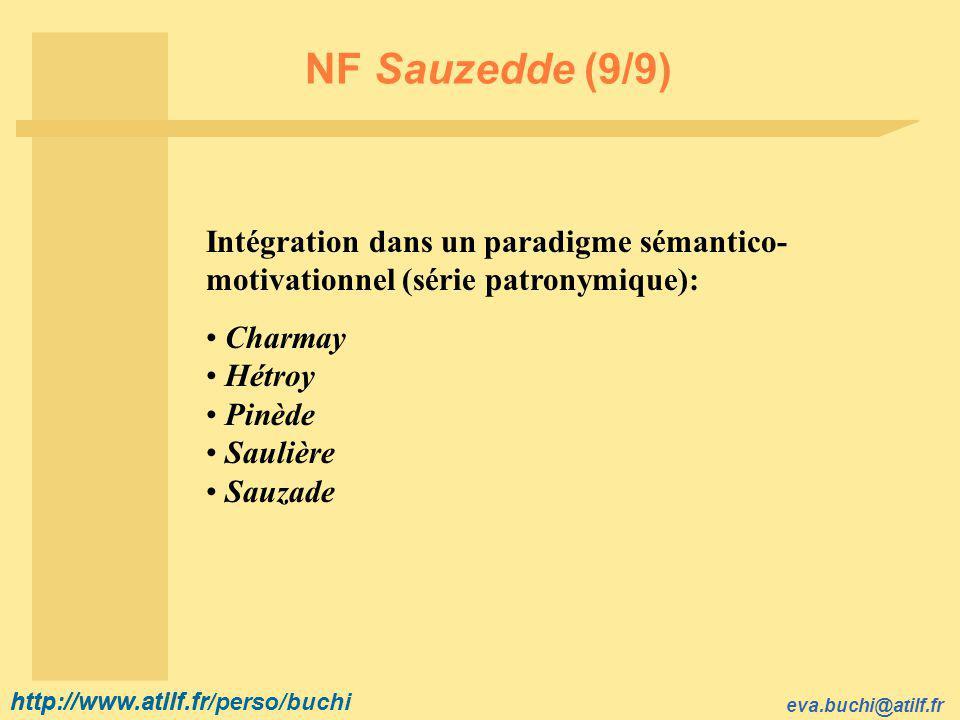 http://www.atilf.fr eva.buchi@atilf.fr http://www.atilf.fr/perso/buchi NF Sauzedde (9/9) Intégration dans un paradigme sémantico- motivationnel (série patronymique): Charmay Hétroy Pinède Saulière Sauzade