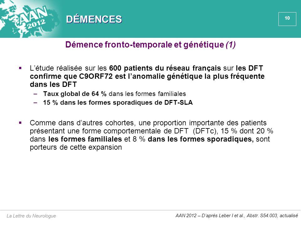 10 DÉMENCES  L'étude réalisée sur les 600 patients du réseau français sur les DFT confirme que C9ORF72 est l'anomalie génétique la plus fréquente dan