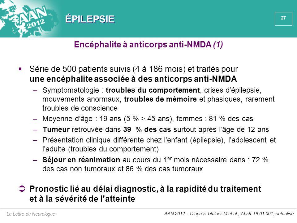 27 ÉPILEPSIE  Série de 500 patients suivis (4 à 186 mois) et traités pour une encéphalite associée à des anticorps anti-NMDA –Symptomatologie : troub