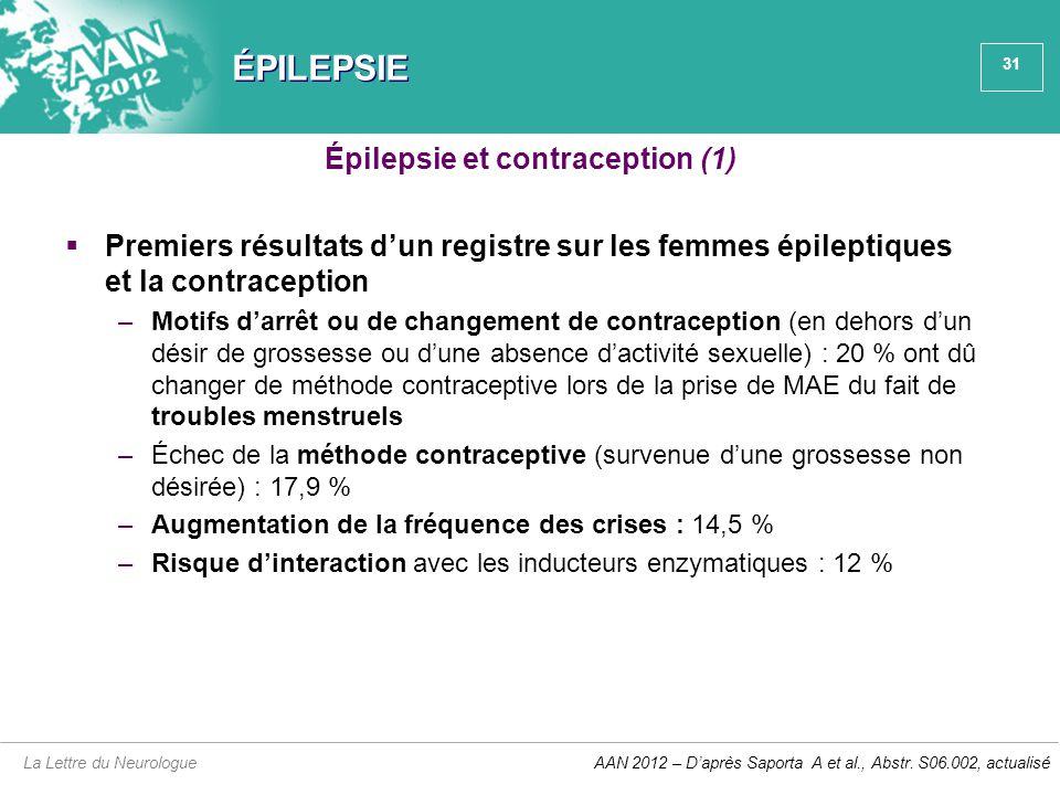 31 ÉPILEPSIE  Premiers résultats d'un registre sur les femmes épileptiques et la contraception –Motifs d'arrêt ou de changement de contraception (en