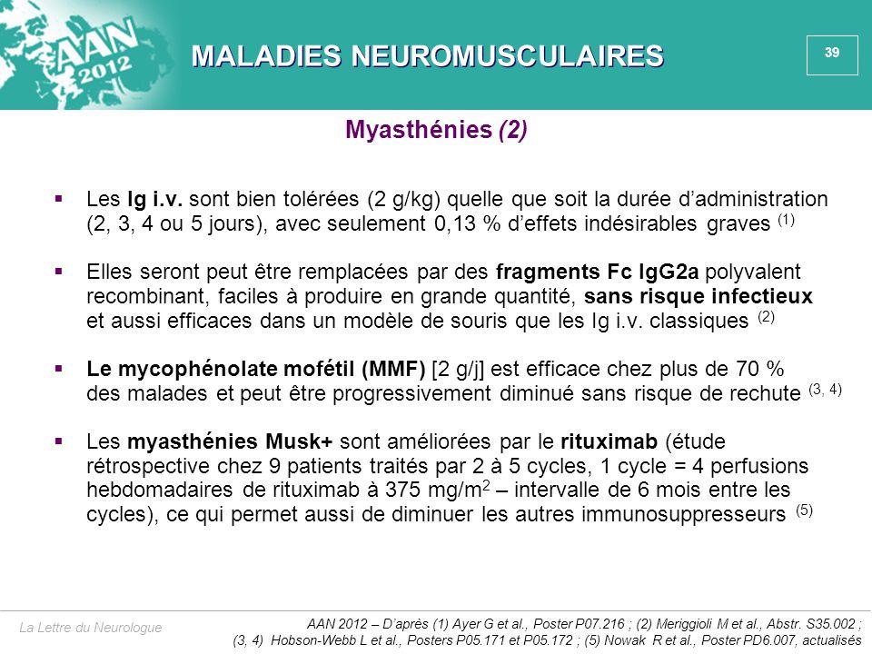 39 MALADIES NEUROMUSCULAIRES  Les Ig i.v. sont bien tolérées (2 g/kg) quelle que soit la durée d'administration (2, 3, 4 ou 5 jours), avec seulement